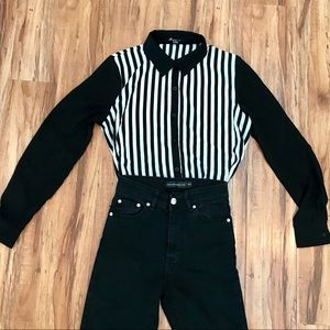 Striped Long Sleeve Black and White Blouse